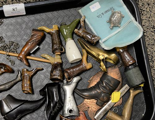 Tray lot of assorted collectibles to include leg and boot boxes, shoe boxes, silver turtle box, etc.