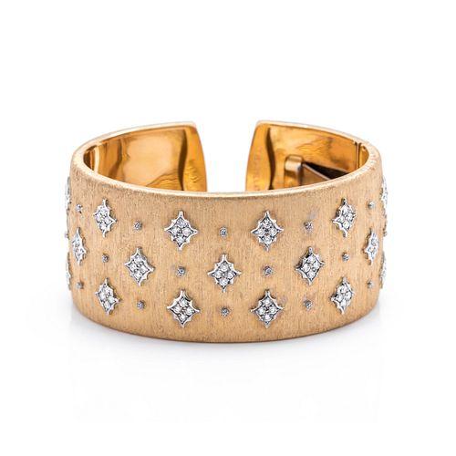 MARIO BUCCELLATI, YELLOW GOLD AND DIAMOND CUFF BRACELET