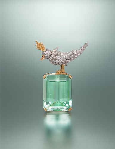 TIFFANY & CO., SCHLUMBERGER, GREEN BERYL AND DIAMOND 'BIRD ON A ROCK' BROOCH