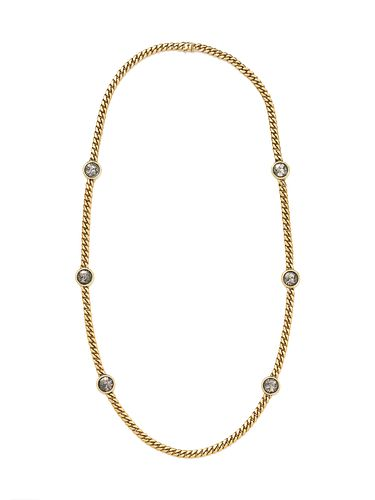 BVLGARI, YELLOW GOLD AND ANCIENT ROMAN COIN LONGCHAIN NECKLACE