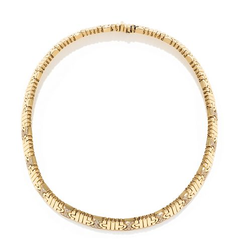 BVLGARI, YELLOW GOLD AND DIAMOND 'PARENTESI' COLLAR NECKLACE