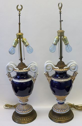 Pair Of Meissen Cobalt And White Porcelain Urns