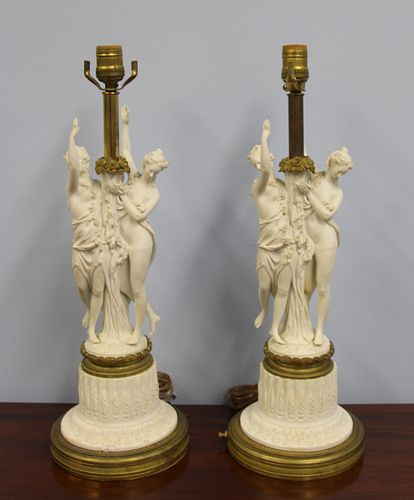 A Pair Of Sevres Bronze Mounted Parian Porcelain