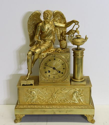 Antique Gilt Bronze Figural Clock With Angel