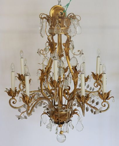 Large Gilt Metal Beaded Chandelier With Glass