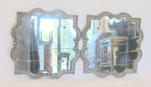 Vintage Pair of Silvergilt Wood Sectional Mirrors.
