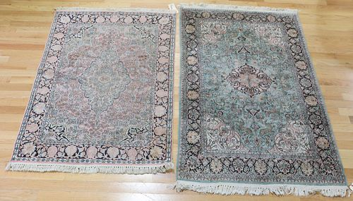 2 Vintage And Finely Hand Woven Area Carpets.