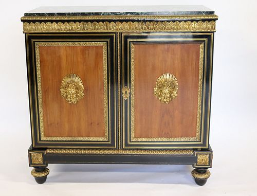 Antique Bronze Mounted 2 Door Continental Cabinet.