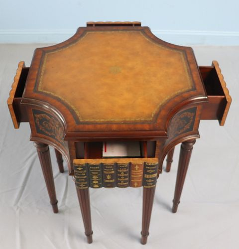 Vintage Leathertop Mahogany Center Table With Book