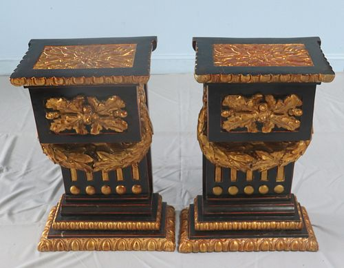 Vintage Pair Of Gilt And Paint Decorated