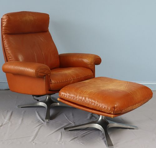 Vintage Desede Leather Lounge Chair And Ottoman.