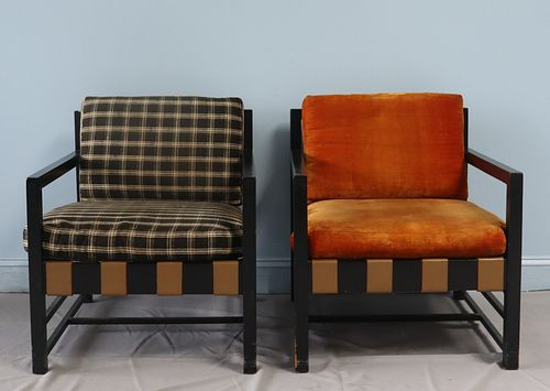 Midcentury Pair Of Ebonised And Upholstered Arm