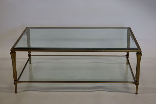 Bagues Style Gilt Metal And Glass Coffee Table.