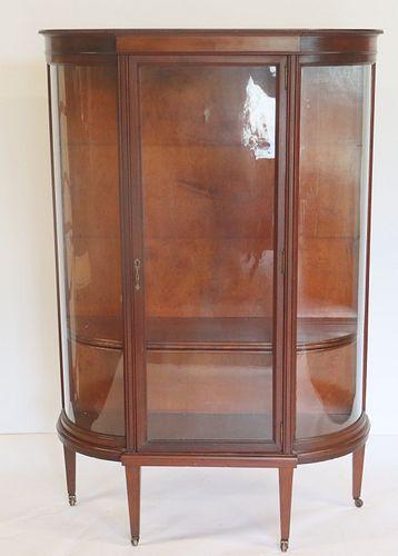 Antique Sheraton Style Mahogany Vitrine Cabinet