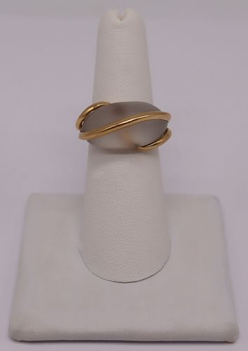 JEWELRY. Signed French 18kt Gold and Frosted Glass