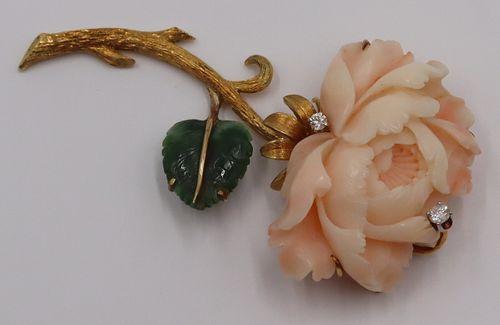 JEWELRY. 18kt Gold, Angel Skin Coral, Diamond &