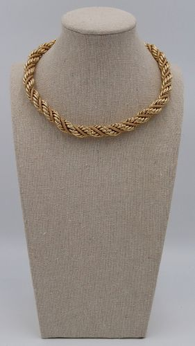 JEWELRY. Signed 14kt Gold Rope Twist Necklace.