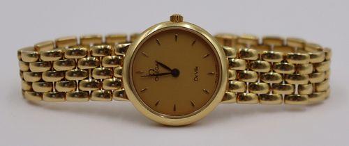 JEWELRY. Ladies Omega De Ville 18kt Gold Watch.