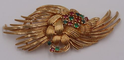 JEWELRY. Signed Karbra 14kt Gold and Colored Gem