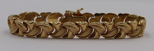 JEWELRY. Signed Turkish 14kt Gold Bracelet.