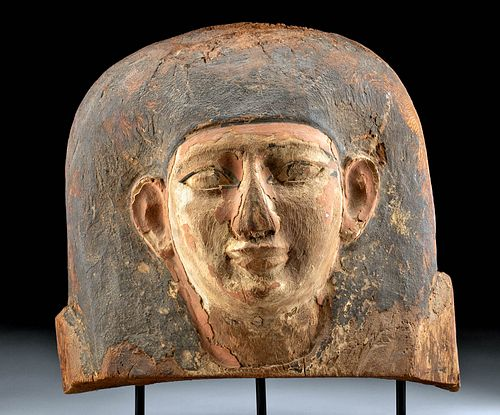 Impressive Egyptian Wood Sarcophagus Male Head