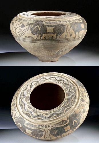 Huge Indus Valley Pottery Vessel - Bulls & Fish w/ TL