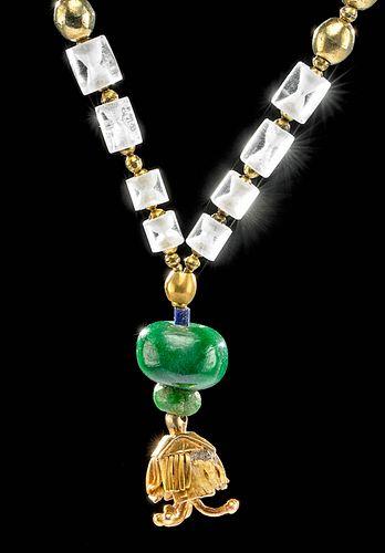 Pre-Columbian 18K Gold, Jade, & Quartz Necklace