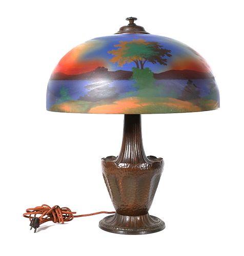 RAINAUD Reverse Painted Shade Table Lamp