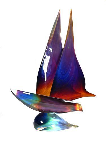 DINO ROSIN, Murano Art Glass Sailboat, Signed