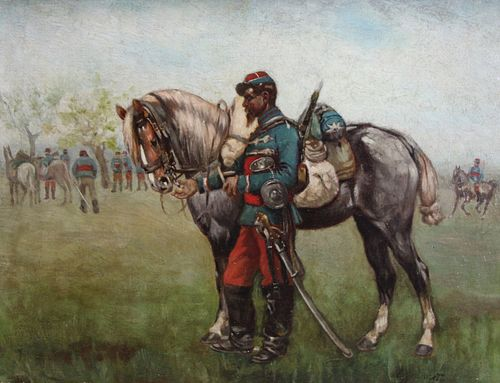 Illegibly signed Oil On Canvas Soldier With Horse