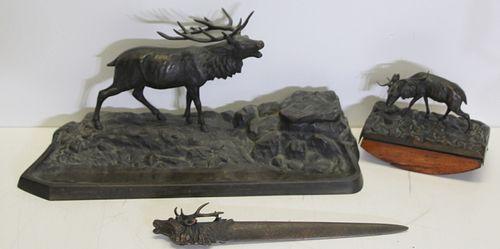 Illegibly Signed 3 Piece Bronze Inkwell Set.