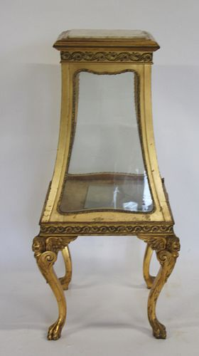 Antique Carved And Gilt Wood Marbletop Vitrine.