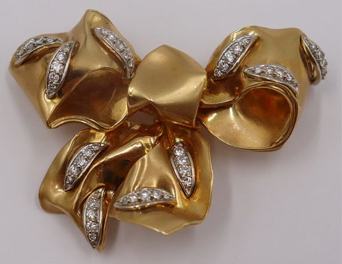 JEWELRY. Signed Forley 18kt Gold and Diamond Bow