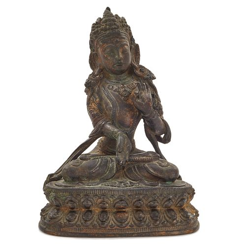 Sino-Tibetan Gilt Bronze Figure of Manjushri, 17th Century