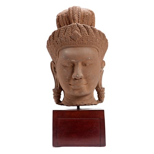 Khmer Sandstone Head of a Male Deity, Angkor Wat Period
