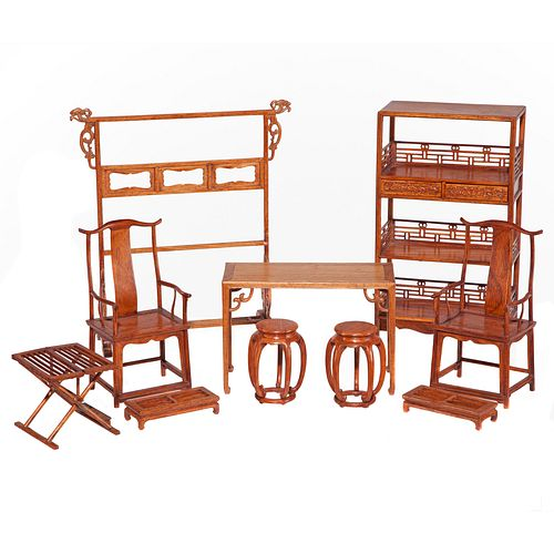 Set of Ten Huanghuali Miniature Furniture Items