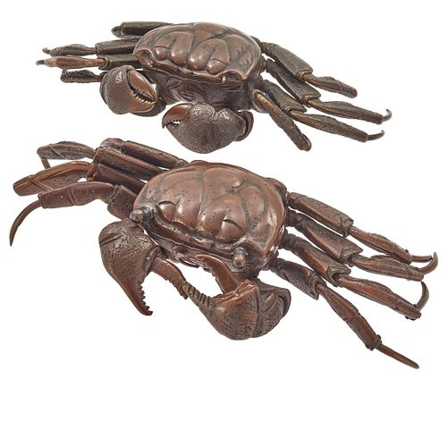 Two Japanese Bronze Articulated Crab Figures, Meiji Period