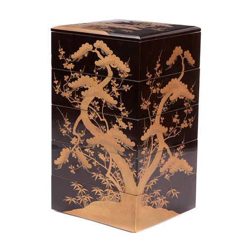 Japanese Five-Tier Lacquer Jubako Box, Meiji Period