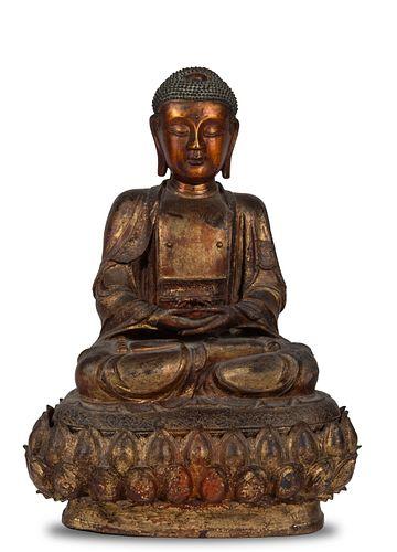 Chinese Gilt Bronze Seated Buddha, Ming