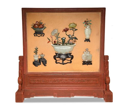 Chinese Cinnabar and Stone Table Screen, 18th Century