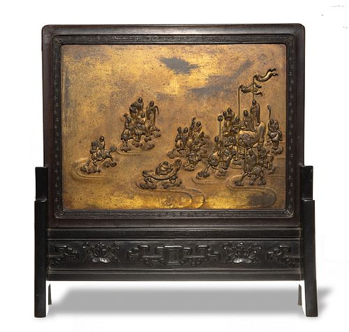 Chinese Gilt Table Stand of 18 Luohan, Qianlong
