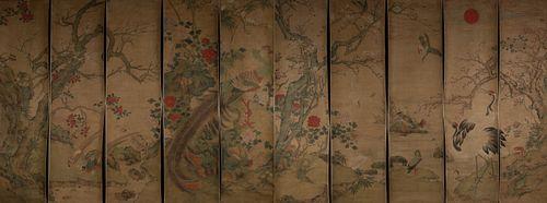 Set of Ten Chinese Paintings by Jiang Tingxi