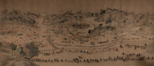 Chinese Painting of a Parade attributed to Jiao Bingzhen