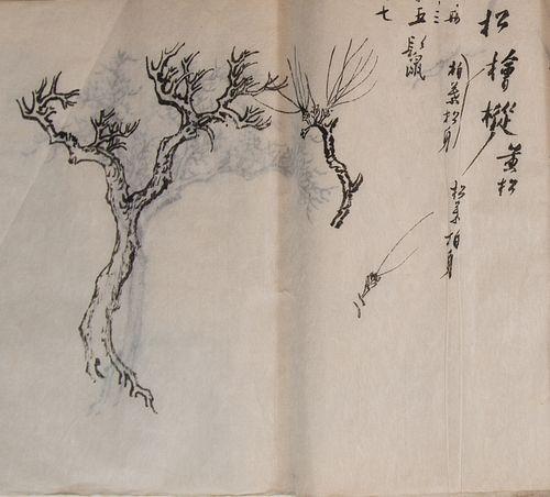 Chinese Sketchbook of Draft Paintings by Pu Ru