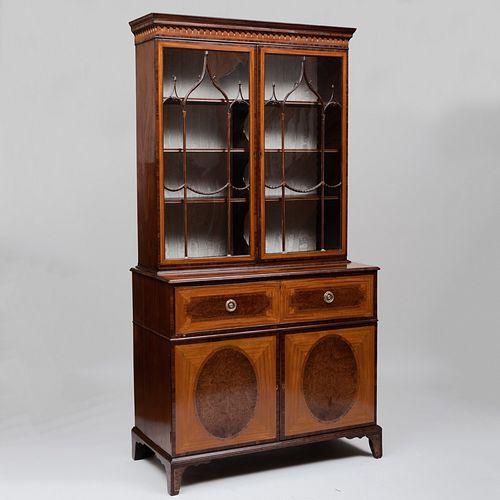 Fine George III Satinwood and Yewwood Parquetry Secretary Bookcase