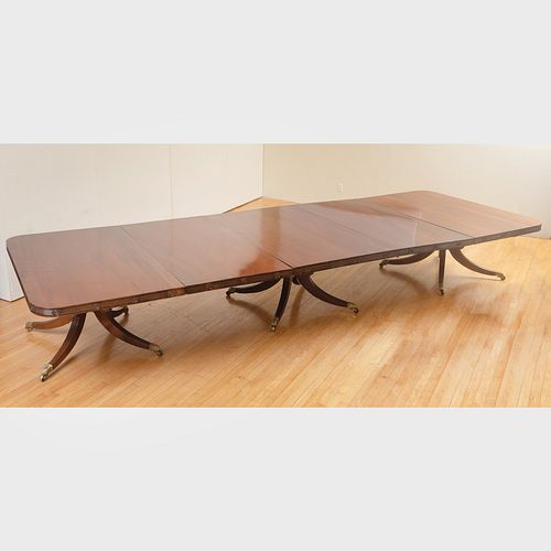 Fine Regency Mahogany Three Pedestal Dining Table with Two Leaves