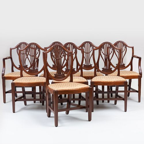 Set of Eight George III Carved Mahogany Shield-Back Dining Chairs
