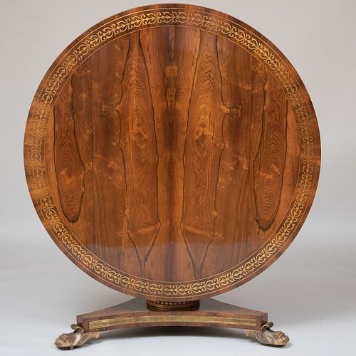 Regency Brass-Inlaid Rosewood and Parcel-Gilt Center Table
