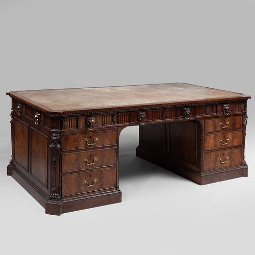 Fine Late George IV Carved Mahogany Partner's Pedestal Desk