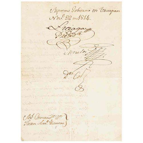 Morelos, José María. Carta Dirigida al Comandante Juan Antonio Romero sobre la Formación de una Academia Militar. 1814. Firmada.